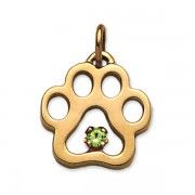 August - Puppy Paw® Pendant w/Peridot Gemstone