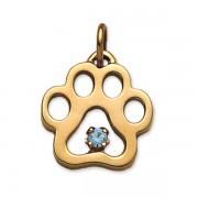 December - Puppy Paw® Pendant w/Blue Zircon