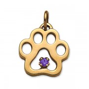 February - Puppy Paw® Pendant w/Amethyst Gemstone