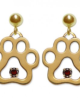 14k Charm Size Puppy Paws® Dangle Earrings w/Birthstones