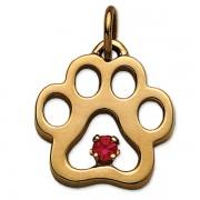 July - Puppy Paw® Pendant w/Ruby Gemstone