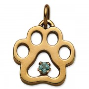 March - Puppy Paw® Pendant w/Aquamarine Gemstone