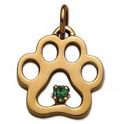 May - Puppy Paw® Pendant w/Emerald Gemstone
