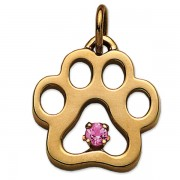 October - Puppy Paw® Pendant w/Pink Tourmaline