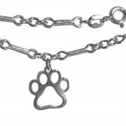 Dogbone Style SS Ankle Bracelet w/Charm Size Puppy Paw®