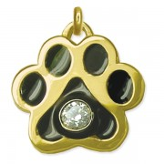 14k Diamond Puppy Paws® Pendant w/Black Resin Enamel