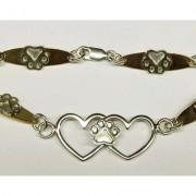 Double Heart Bracelet w/Puppy Paws®