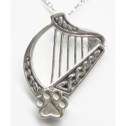 SS Celtic Harp Pendant w/Sterling Silver Puppy Paw®