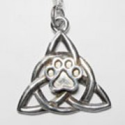 Stainess Steel Celtic Triangular Knot Pendant w/Puppy Paw®