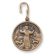 Antiqued Brass St Francis Pet Medal