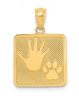 14K Hand & Paw Pendant