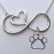 Sterling Silver Infinity Heart Necklace w/Puppy Paw® Charm