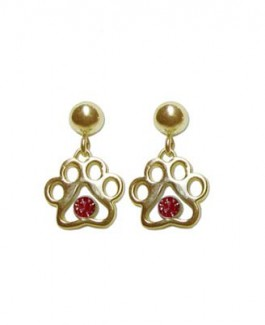 14k Tiny Puppy Paws® Earrings w/Swarovski® Crystals