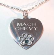 SS Heart w/Puppy Paw® & Birthstone Crystal Pendant