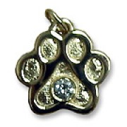 14k Diamond Puppy Paws® Pendant w/no Resin Enamel