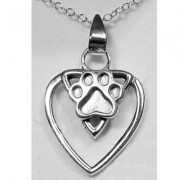 Sterling Silver Celtic Heart Pendant  w/Sterling Puppy Paw®