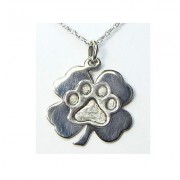SS 4 Leaf Clover Pendant w/Puppy Paw®