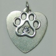 SS Heart Pendant w/Tiny Open Puppy Paw® w/Crystal (Small Heart)