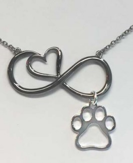 SS Black Infinity Heart Necklace w/SS Puppy Paw® Charm