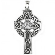 SS Large Celtic Cross Pendant w/Sterling Puppy Paw®