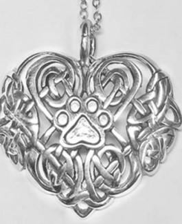 SS Celtic Heart Pendant w/Puppy Paw®