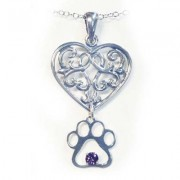 SS Hearts & Paws Pendant w/Puppy Paw®