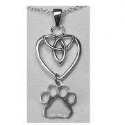 Celtic Knot (Sterling) Heart Pendant w/Puppy Paw®