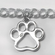 "7"" Three-Paw Sterling Silver Puppy Paws® Bracelet"