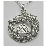 SS Celtic Dragon Pendant w/Sterling Puppy Paw®