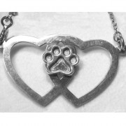 Double Heart w/Puppy Paw® Pendant