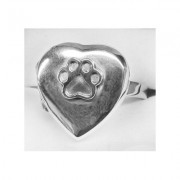 SS High Polish Heart Locket Ring w/Puppy Paw®