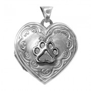 SS Locket Floral Heart w/Puppy Paw®