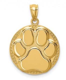14K Dog Paw Medal Pendant
