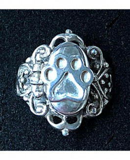 "SS Victorian Scroll  ""Poison Pill"" Ring w/Puppy Paw®"