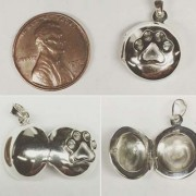 Tiny SS Round Locket w/Puppy Paw®