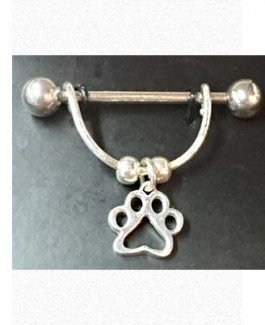 Stainless Nipple Shield w/Tiny Sterling Puppy Paw®