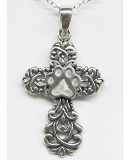 SS Ornate Cross w/Puppy Paw®
