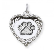 SS Heart Pendant  w/SS Puppy Paw® Pendant
