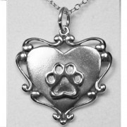 Filigree Engraveable Scroll Heart w/Puppy Paw® Pendant