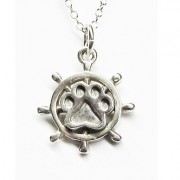 SS Ships Wheel Pendant w/Sterling Puppy Paw®