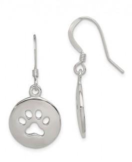 Sterling Silver Heart Earrings w/Cutout Paws