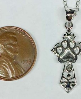 Tiny Cross Pendant w/Puppy Paw®
