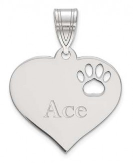 Sterling Silver Heart Pendant With Pawprint Cutout