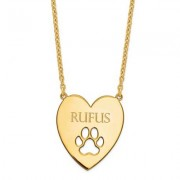 Gold Plated Sterling Silver Heart Pendant With Paw Print Cutout